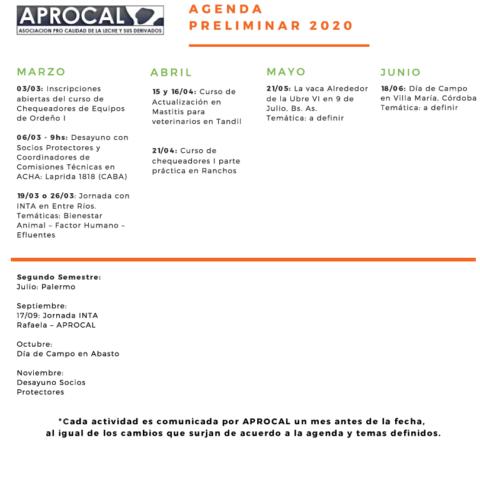 AGENDA PRELIMINAR 2020