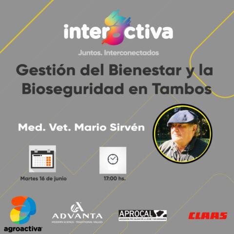 Jueves 16/06 – Gestión del Bienestar y la Bioseguridad en Tambos