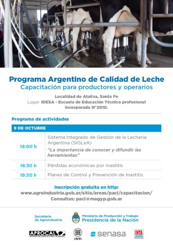 Capacitación Programa Argentino de Calidad de Leche para Productores y Operarios